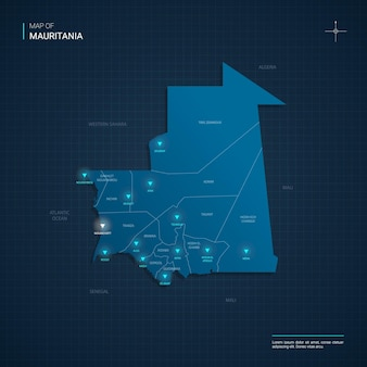 Mauritanië kaart met blauwe neonlichtpunten