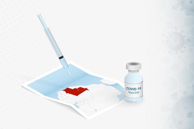 Mauritanië vaccinatie, injectie met covid-19-vaccin op de kaart van mauritanië.