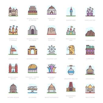 Mausoleum bezienswaardigheden plat pictogrammen