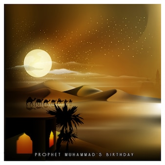 Mawlid al nabi groet islamitisch met arabische reiziger op kameel in de nacht