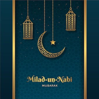 Mawlid milad-un-nabi-groet met maan en lantaarns