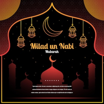 Mawlid milad-un-nabi-groet met moskee en lantaarns