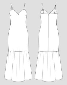 Maxi-jurk voor bruidsmeisjes. fishtail zoom. mode schets. vector illustratie. platte technische tekening. mockup-sjabloon.