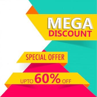 Maximaal 60% kortingsaanbieding voor banner- of posterontwerp van mega sale.