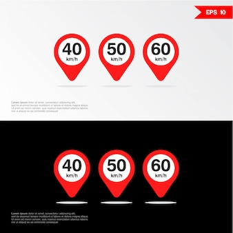 Maximum snelheid icon set