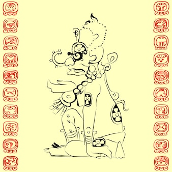 Maya-afbeelding van de godheid (sun - ah kin of kinich ahab), en maya-teken voor de namen van dagen