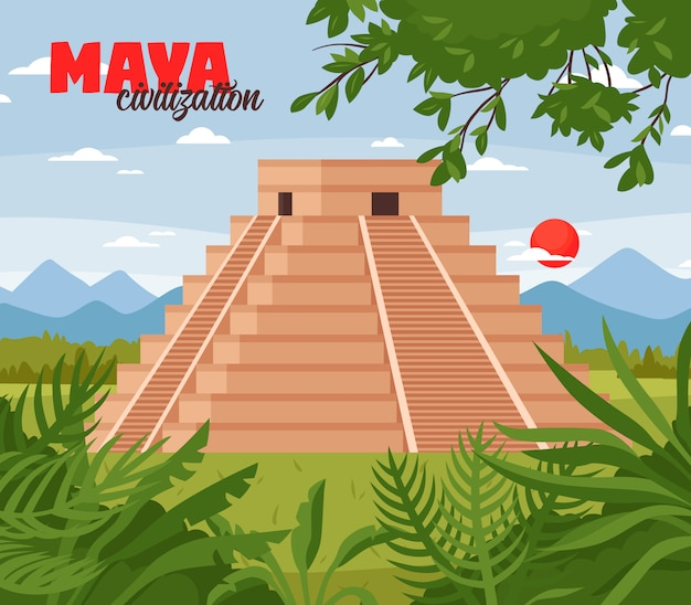 Maya piramides doodle achtergrond