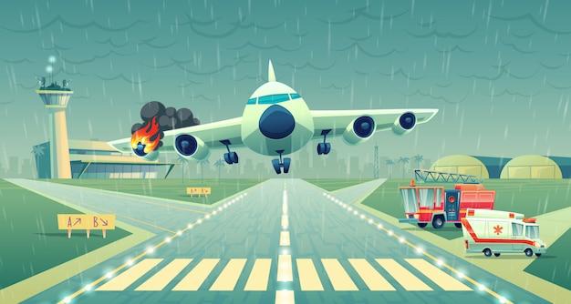 Mayday landing van het vliegtuig op een strook dichtbij terminal. neerstorting van de vlucht bij slecht weer, vleugel