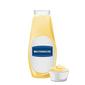 Mayonaise in glazen fles met keramische kom. pot met witte saus. kruiderijcontainer in cartoonstijl. vector illustratie.