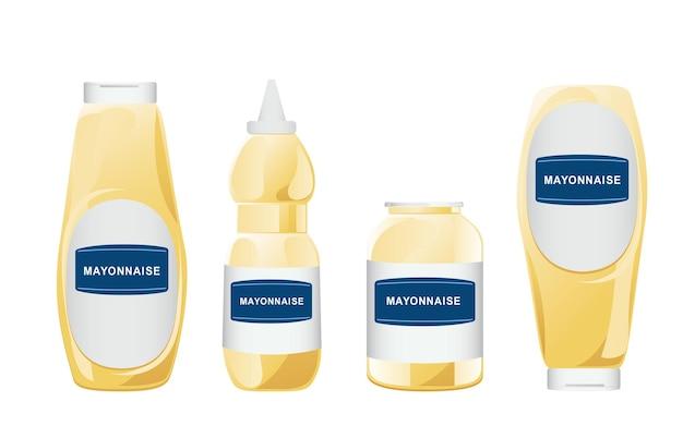 Mayonaise in glazen flessen set. potten met witte saus. kruiderijcontainers in cartoonstijl. vector illustratie.