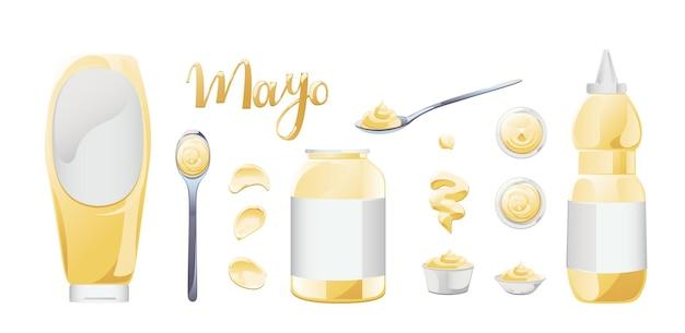 Mayonaise in kom, fles, vlekken en splash set. kruiderij witte saus pictogramserie. boven- en vooraanzicht vectorillustratie. Premium Vector