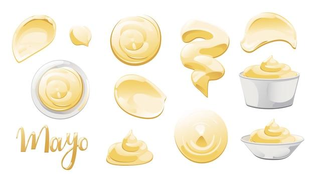 Mayonaise in kom, fles, vlekken en splash set. kruiderij witte saus pictogramserie. boven- en vooraanzicht vectorillustratie.