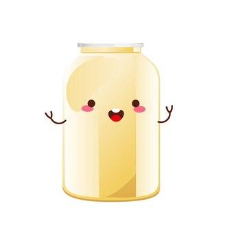 Mayonaise schattig karakter in glazen fles. pot met witte saus. kruiderijcontainer in cartoonstijl. vector illustratie.