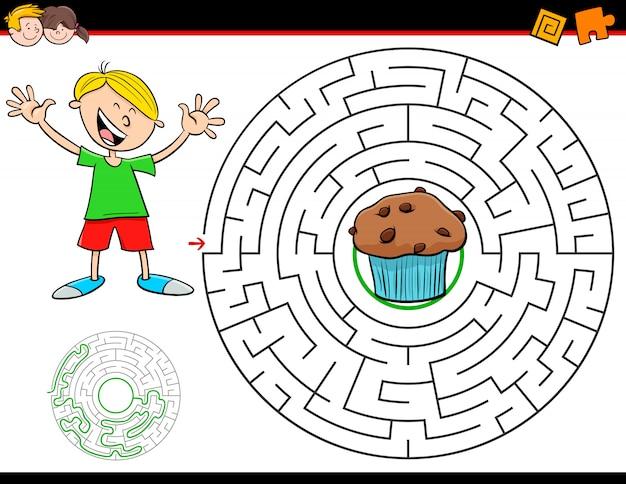 Maze activity game voor kinderen met jongen en muffin