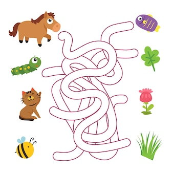 Maze game vector design, dieren matching game vector design