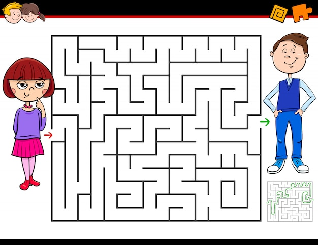 Maze game voor kinderen met meisje en jongen