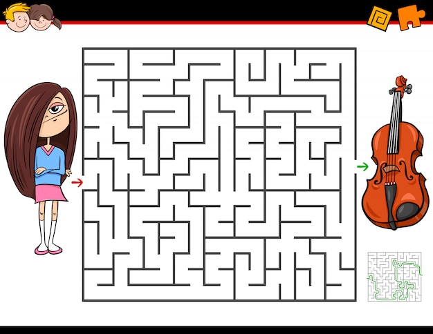 Maze game voor kinderen met meisje en viool