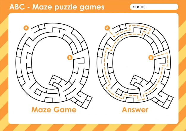 Maze puzzelspellen - alfabet a - z activiteit voor kinderen: letter q