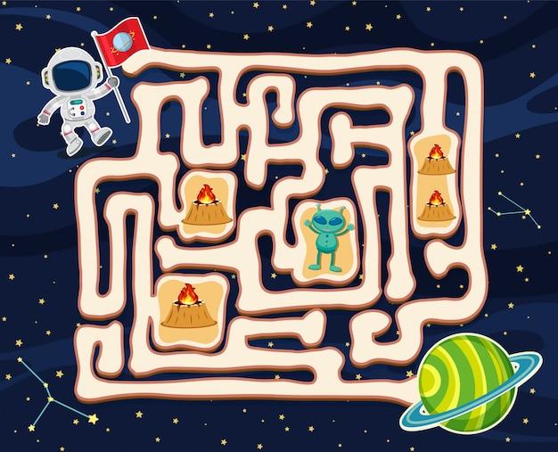 Maze-spel sjabloon met buitenaards wezen in de ruimte