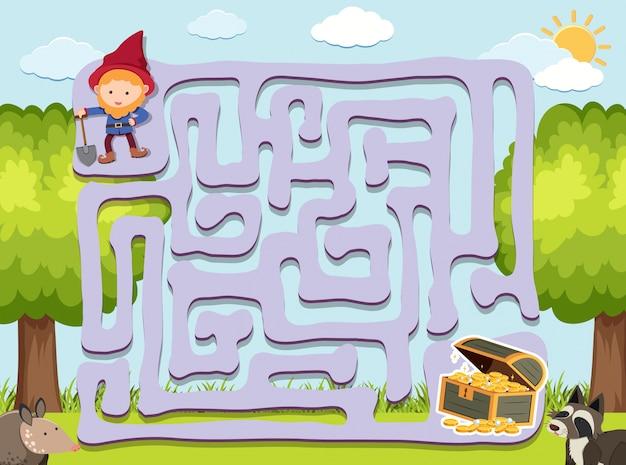 Maze-spel sjabloon met dwerg en goud