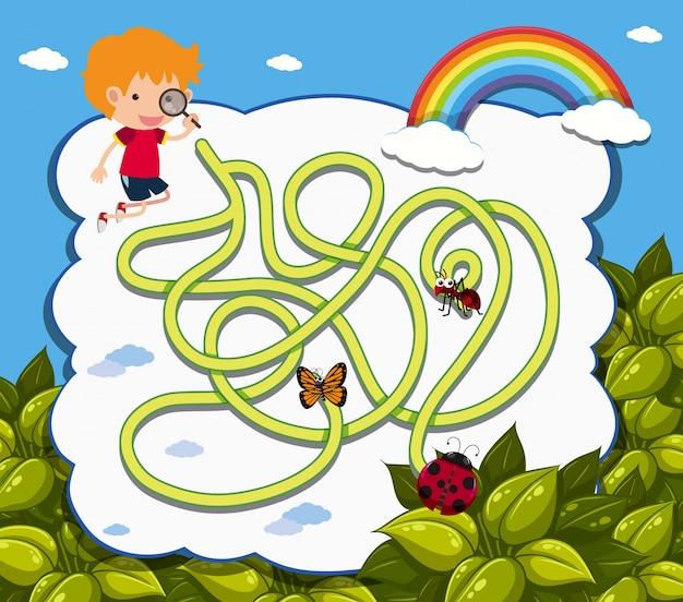 Maze-spel sjabloon met jongen en lieveheersbeestje