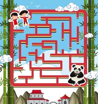 Maze-spel sjabloon met panda en kinderen