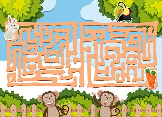 Maze-spel sjabloon met wilde dieren