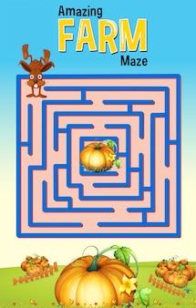 Maze-spelmalplaatje met konijn en pompoenlandbouwbedrijf