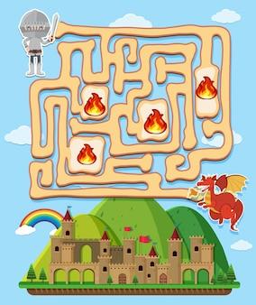 Maze-spelmalplaatje met ridder en draak