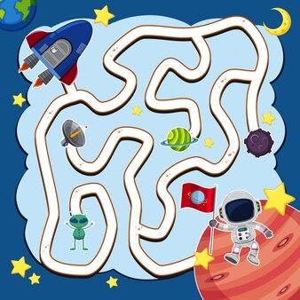 Maze-spelmalplaatje met ruimteschip in ruimte