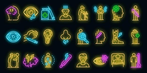 Mazelen pictogrammen instellen. overzicht set van mazelen vector iconen neon kleur op zwart