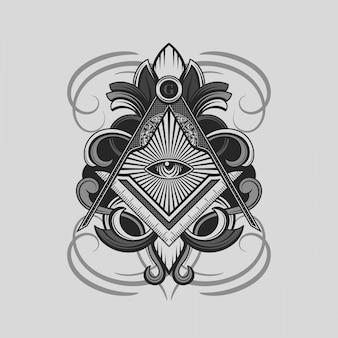 Mazonisch vierkant en kompassymbool