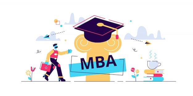 Mba-illustratie. plat klein master of business administration persoon concept. onderwijsmanagementstrategie voor kennisgroei van studenten. graduation hat als academisch leren en wijsheidssymbool