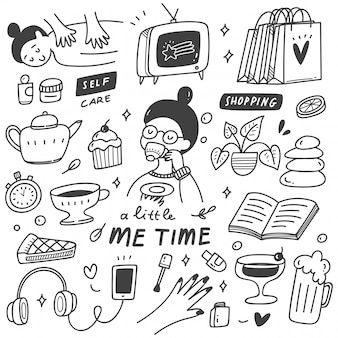 Me tijd concept doodle illustratie
