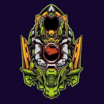 Mecha astron planeet illustratie spelen