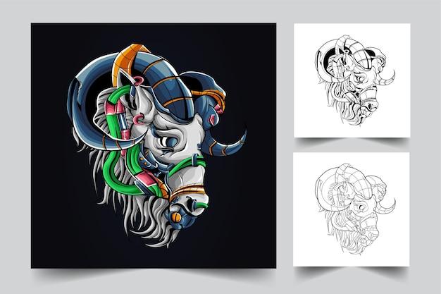 Mecha hoofd dierlijk mascotte logo