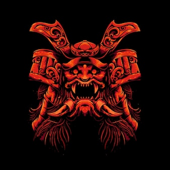 Mecha hoofd monster samurai illustratie