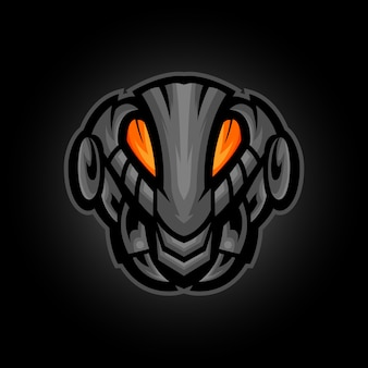 Mecha mier hoofd mascotte logo ontwerp