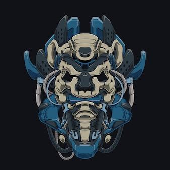 Mecha ninja panda cyberpunk illustratie panda hoofd bijten martial arts roll shirt design met een robot thema