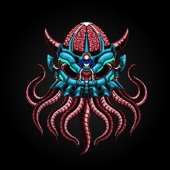 Mecha octopus robotachtige illustratie