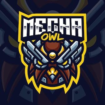 Mecha owl mascot gaming logo-sjabloon voor esports streamer facebook youtube