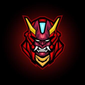 Mecha ronin kwaad mascotte logo ontwerp, robot hoofd logo