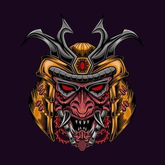 Mecha samurai robotachtige illustratie