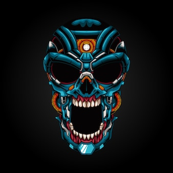 Mecha schedel robot illustratie