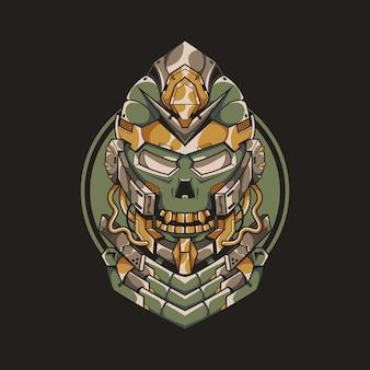 Mecha skull illustratie