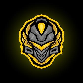 Mecha spartan helm mascotte logo ontwerp