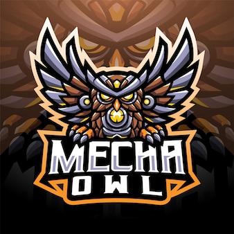 Mecha uil esport mascotte logo ontwerp
