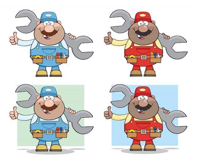 Mechanic cartoon character set
