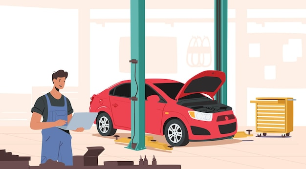 Mechanica-personages gekleed in blauwe overalls met laptop in garage, reparatiepersoneel in doos met instrumenten, automatische controle en onderhoud, auto repareren of herstellen. cartoon vectorillustratie