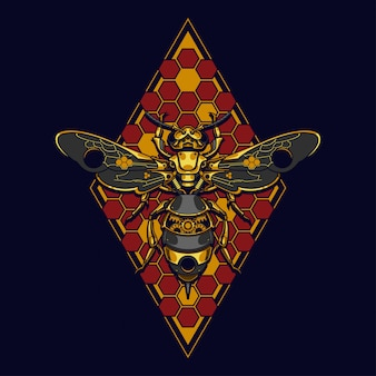 Mechanisch bijen steampunk illustratie en t-shirtontwerp
